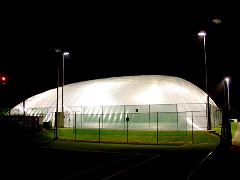 An inflatable dome similar to the one planned for the university tennis courts