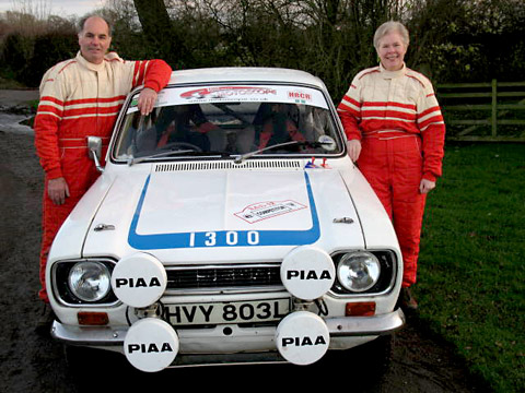 Husband and wife team Stuart and Linda Cariss and their trusty 1300cc Ford Escort which they steered to success for the third consecutive year in the Roger Albert Clark Rally