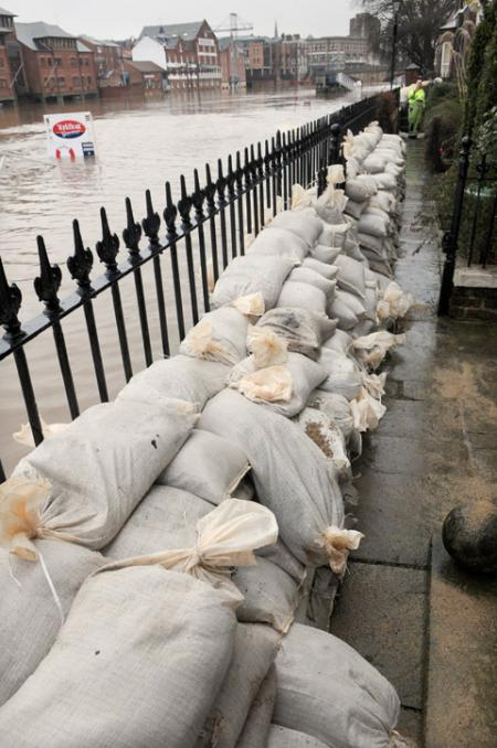 Sandbags in place at the end of Peckitt Street in York