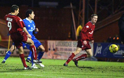 Lee Nogan, right, drills home the first of his two goals in City's 2003  triumph at  Rochdale