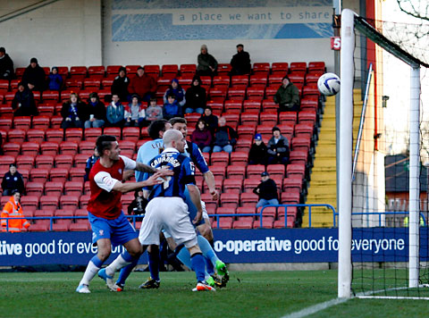 Midfielder Michael Potts gives York City the lead at Rochdale. Picture: Gordon Clayton