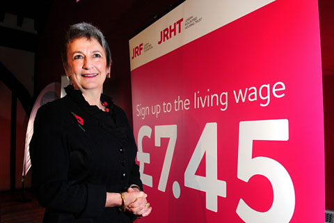 Joseph Rowntree Foundation chief executive Julia Unwin announcing the Living Wage at the Hospitium in York
