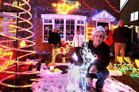 Pam Reed, of Twin Pike Way, Wigginton, with her Christmas lights, which will raise money for St Leonard's Hospice and the Yorkshire Air Ambulance
