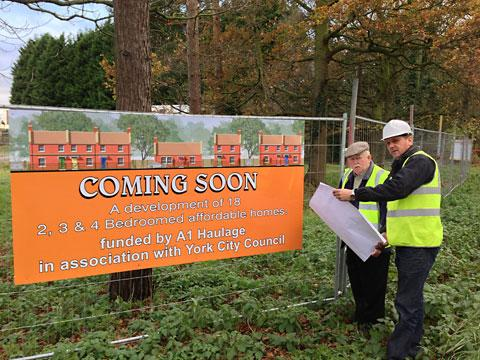 Anthony Hughes, Willow Design and Construction's managing director, and private investor Roy Handley, of A1 Haulage, at the site in Elvington where work on the UK's first, privately-funded, affordable housing scheme is set to start