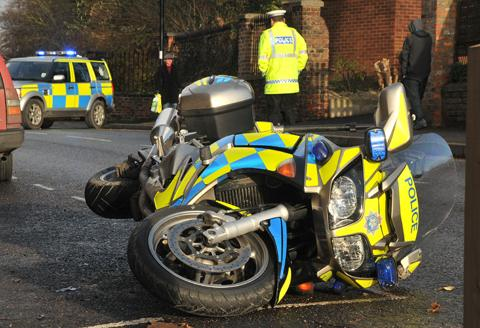 Police motorbike crashes in York