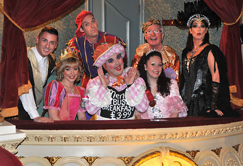 Cast members from the York Grand Opera House Sleeping Beauty production, from left, David Heath as Prince Valiant, Amy Morris as Sleeping Beauty, Matt Dallen as Chester The Jester, Richard Stride as Gurty The Georgeous, Carley Nickson as Fairy Sparkle, Si