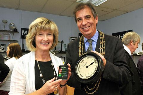 Diane Roworth, chief officer of York Blind and Partially Sighted Society, with Lord Mayor of York, Coun Keith Hyman, and some of the items for sale at their headquarters