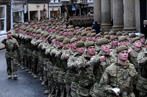 York Press: Soldiers of the 3rd Battalion, The Yorkshire Regiment, parade through York