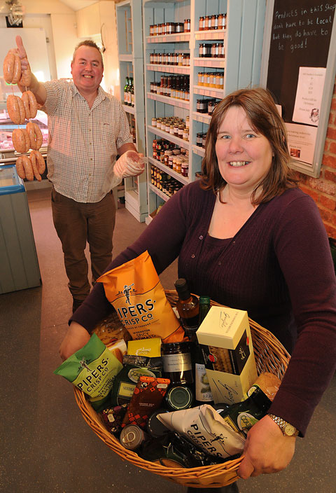 Dean and Angela Hullah in the Tancred Farm Shop near Whixley