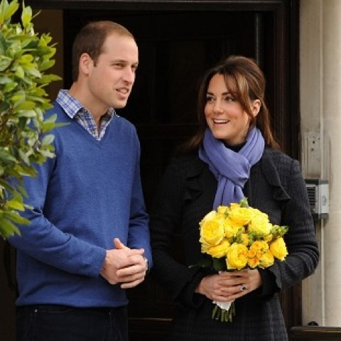 The Duchess of Cambridge leaves hospital with the Duke