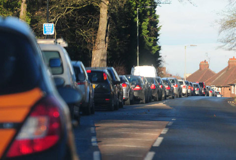 Traffic backs up in Bishopthorpe Road after the closure of a section of the A64 near Fulford.