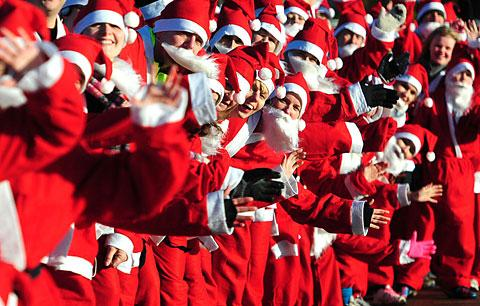 Runners get ready for the Santa Jog on Knavesmire
