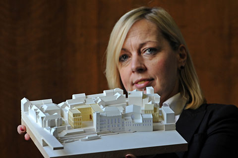 Coun Julie Gunnell with a model of the winning design for the Guildhall facelift