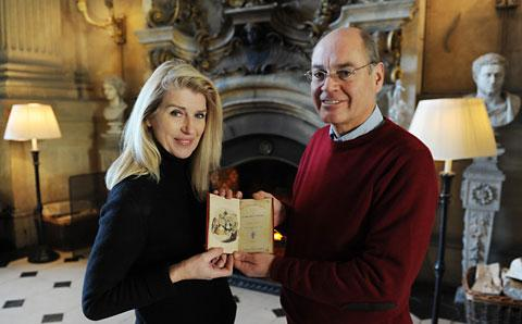 Selina Scott and Simon Howard with the rare copy signed by the author Charles Dickens  and bought from New York for nearly $50,000 arrives back home in Ryedale, where it will be housed at Castle Howard until Christmas