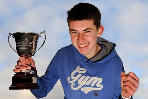 Oliver Cushion with his trophy after he was named as Work Experience Student Of the Year by Castles UK Ltd