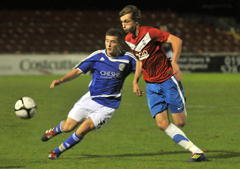 Teenage York City defender Tom Allan, right