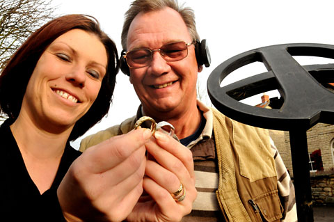 Louise Boddy with her lost rings which were found by York metal detector Jim Cooper