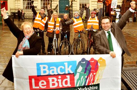 Celebrating the success of 'Le Bid' to get the Tour de France in Yorkshire.