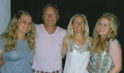 Stephen Major with his wife Jackie and daughters Nicole, left, and Olivia, right