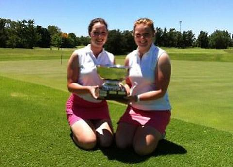 York's Charlotte Austwick, far left, and Eilidh Briggs, show off the Freddy Zorraquin Cup they won in Argentina