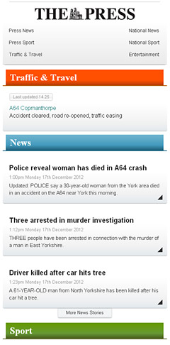 York Press mobile site