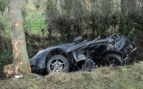 The wreckage of the crash on the A64 near Bilbrough in which a York woman was killed