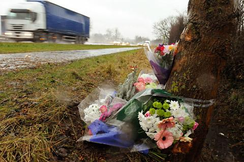 Flowers at the scene of the crash on the A64 in which 30-year-old Marzena Dajlanaj was killed