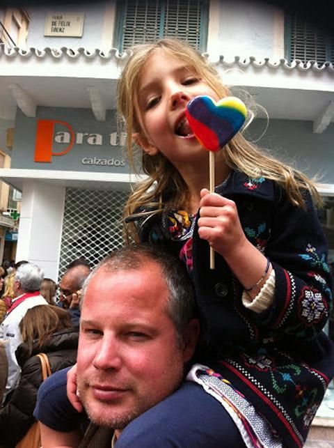 Chris Watkins, pictured with his five-year-old daughter, Aggie, in Spain
