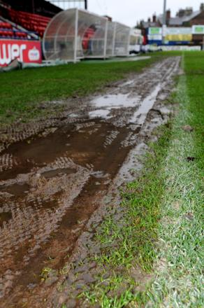 A waterlogged Bootham Crescent pitch