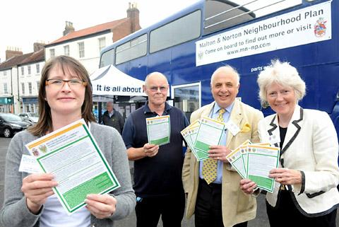 Kathryn Jukes, planning consultant, Mike Skehan, Malton Town Council clerk, Jason Fitzgerald-Smith, Malton mayor, and Emma Brooksbank, co-author promoting the Malton and Norton Neighbourhood Plan