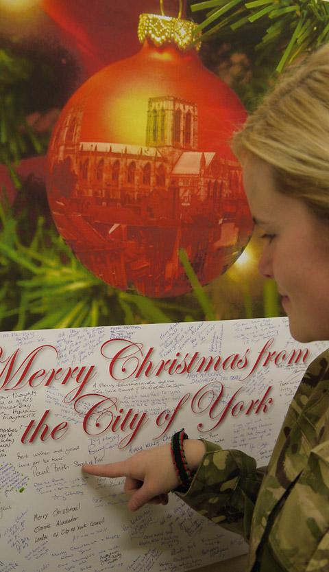 A giant Christmas Card sent by the citizens of York