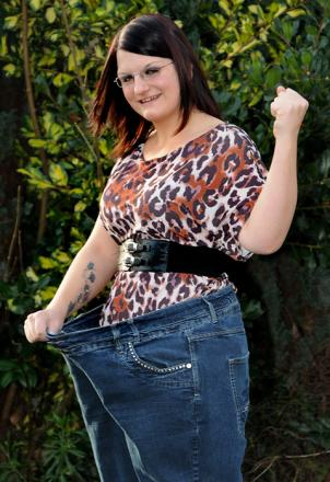 The new slimline Sarah Warriner wearing a pair of her old jeans