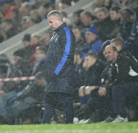 York City boss Gary Mills during the 3-0 defeat at Chesterfield