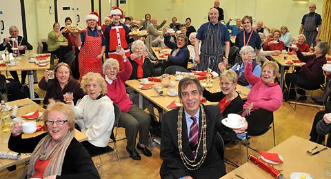 The Lord Mayor of York, Coun Keith Hyman, and the civic party join diners at the West Side Safer Neighbourhood Team Credit Crunch Lunch