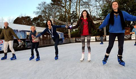 Skaters have fun at the Ice Factor rink at the York Designer Outlet