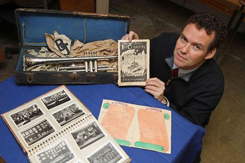 Eden Camp director Nick Hill with some of the concert party       memorabilia donated by the family of former POW Kenneth Finlayson