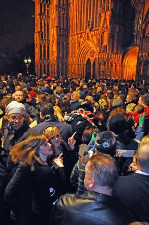 Crowds outside York Minster on New Year's Eve