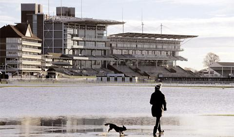 Knavesmire and York racecourse surrounded by standing floodwater