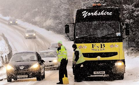 "A lorry is stuck on the A169 road between Pickering and Whitby, as a ""perfect storm"" of freezing rain fell on icy roads and caused chaos on the roads"
