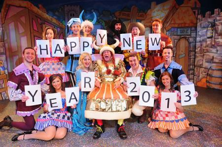 Berwick Kaler and the cast of the York Theatre Royal panto, Robin Hood And His Merry Mam, wish readers of The Press a happy New Year as they celebrate the start of 2013