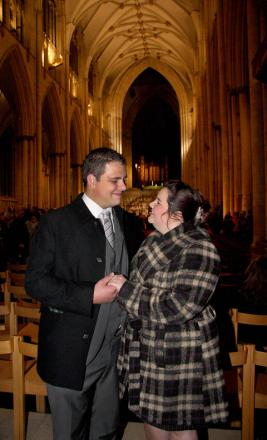 Liam Gray proposes to Jessica Miller at York Minster