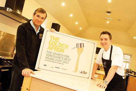 Tim Rymer, chairman of JSR Farming Group, and James Mackenzie, owner of the Pipe and Glass Inn, launch the Golden Apron competition