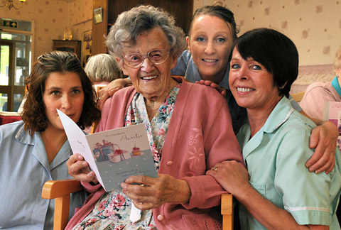 Doris Alderson celebrates her 103rd birthday with staff at Woolnough House in Tang Hall, York