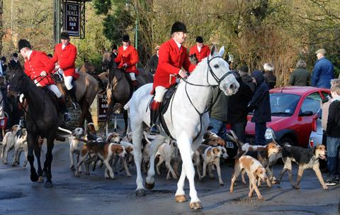 The Derwent Hunt arrives in Thornton-le-Dale for the New Year's Day meet.