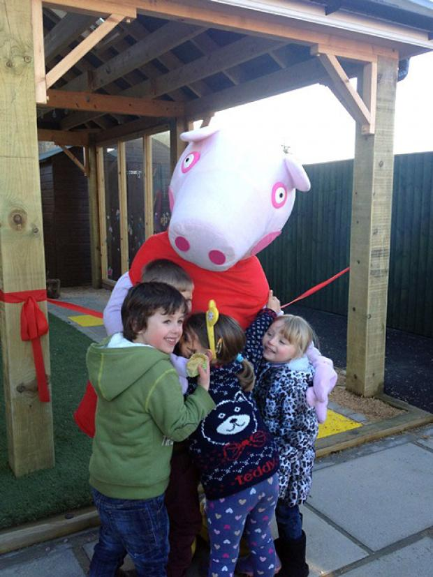 Peppa Pig pops in to play