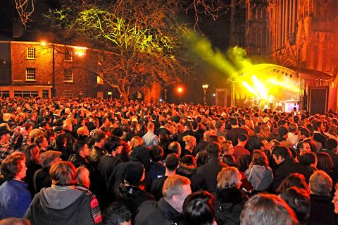 Revellers outside York Minster where a concert was organised by City of York Council as part of the York 800 celebrations
