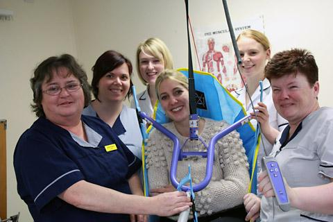Staff  celebrating getting a new hoist on Ward 39 at York Hospital, from the proceeds of the ongoing Star Appeal. From left, ward sister Janet Heppell, Judy Wheatley, Becky Brooks, hospital fundraising manager Lucy Watson, Nicola Stacey and Wendy Atkinson