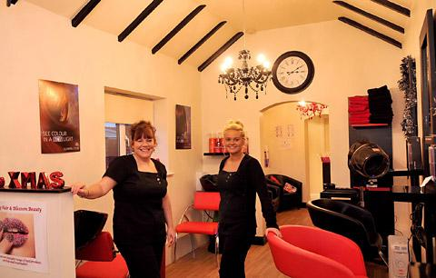 York Press: Becky Sharp, left, and Abi Theaker at the Red Cherry Hair and Blossom Beauty salon in Newton-on-Ouse