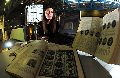 Alison Kay, assistant archivist at the National Railway Museum, with documention that has been included on a new War Database, which is now available online