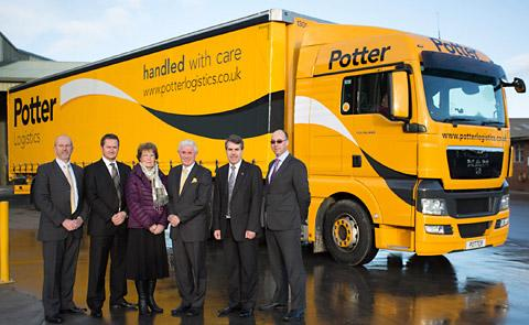 The Potter Logistics directors, from left, Stuart Taylor, Matthew Lamb, Margaret Potter, managing director Derrick Potter, Jim Thomson, and Ken Watson